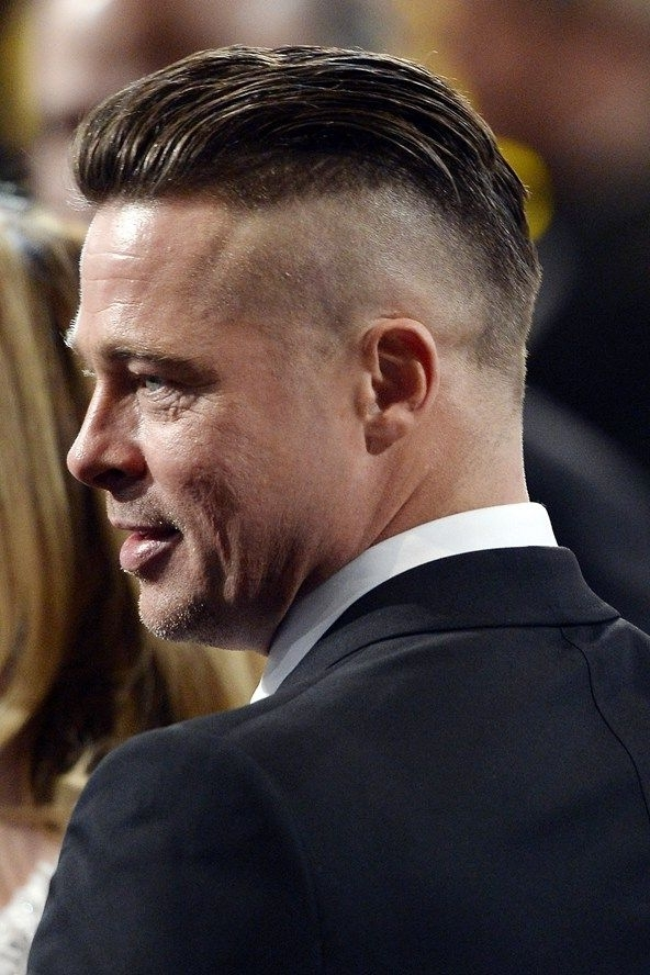 Brad Pitt Side Shaved Comb over Haircut