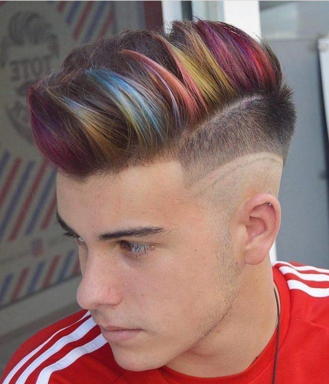 Rainbow Hair Highlight with Side Fade