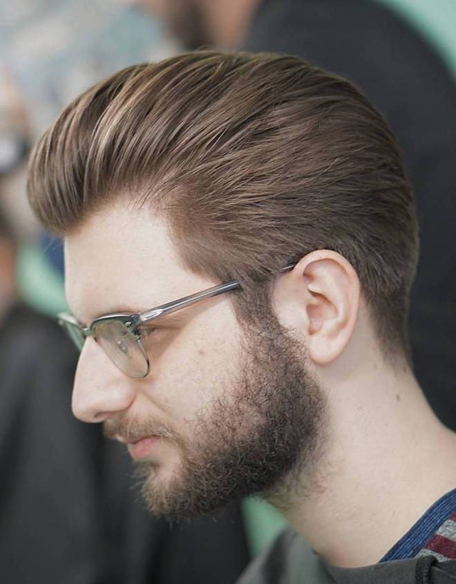 Loose Slick Back Hairstyle with Glasses