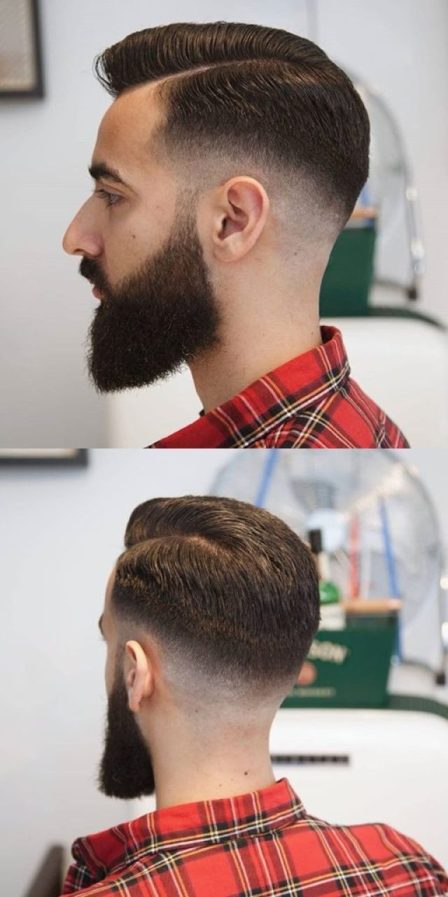 Side Parting Pompadour Hairstyle