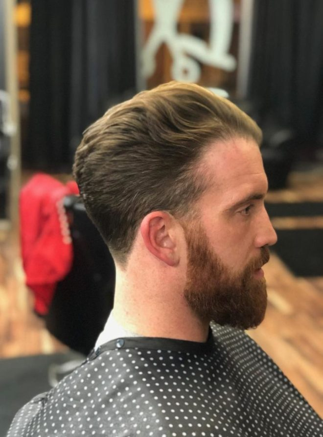 Dapper Cut Hairstyle With Long Beard