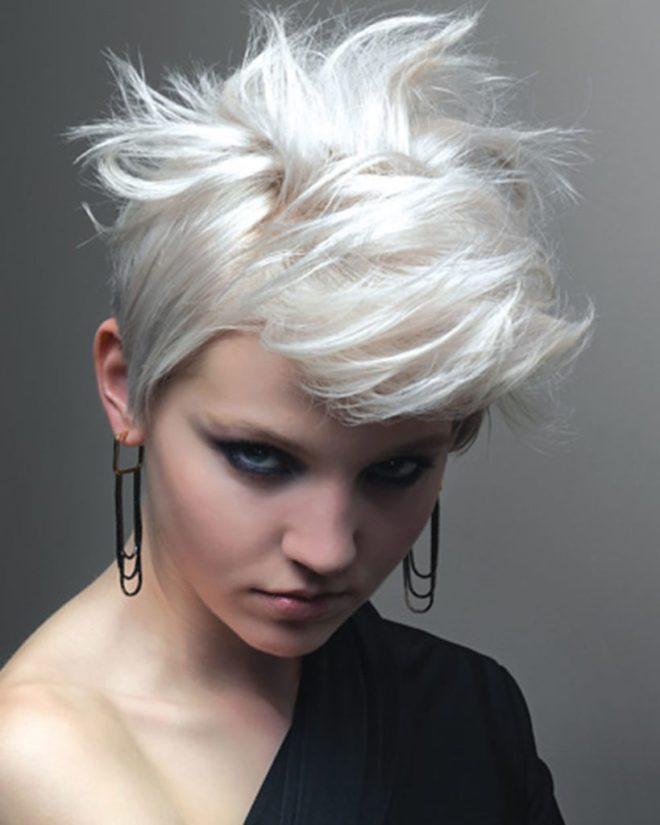 Bleach Blonde Messy Short Hair
