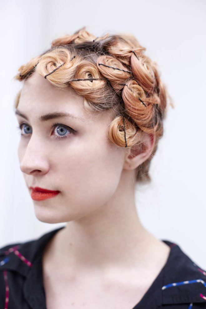 Pin Curls Blonde Hairstyle