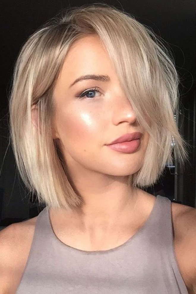 Mid Length Short Hairstyle with Bangs