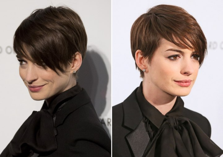 Anne Hathaways Short Pixie Hairstyle With Hair That Rests