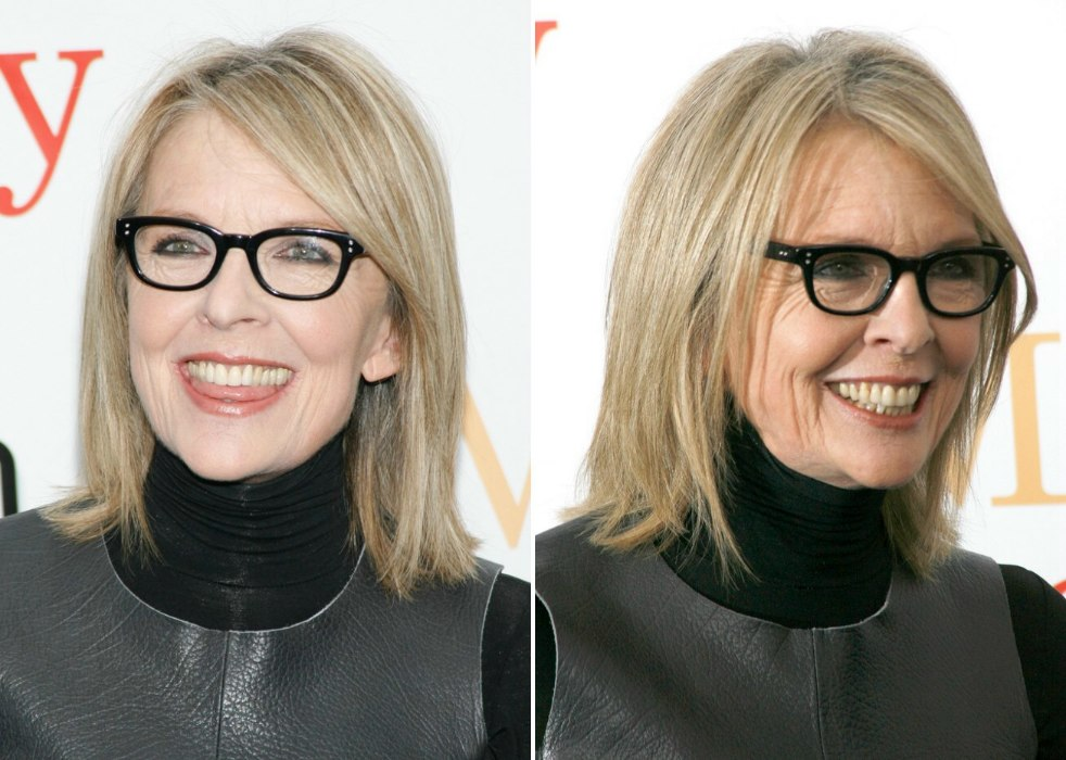 Diane Keaton Wearing Her Shoulder Length Hair In A Simple
