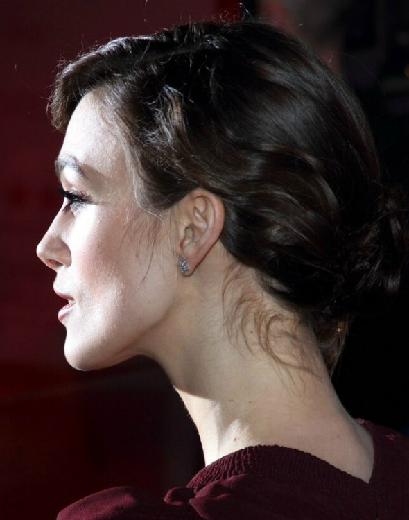 Keira Knightley With Her Hair Styled Into A Loose Knot