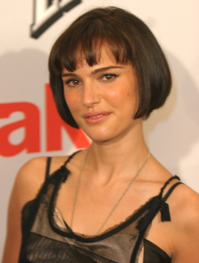 Natalie Portman With Her Hair Cut In A Jaw Length Bob