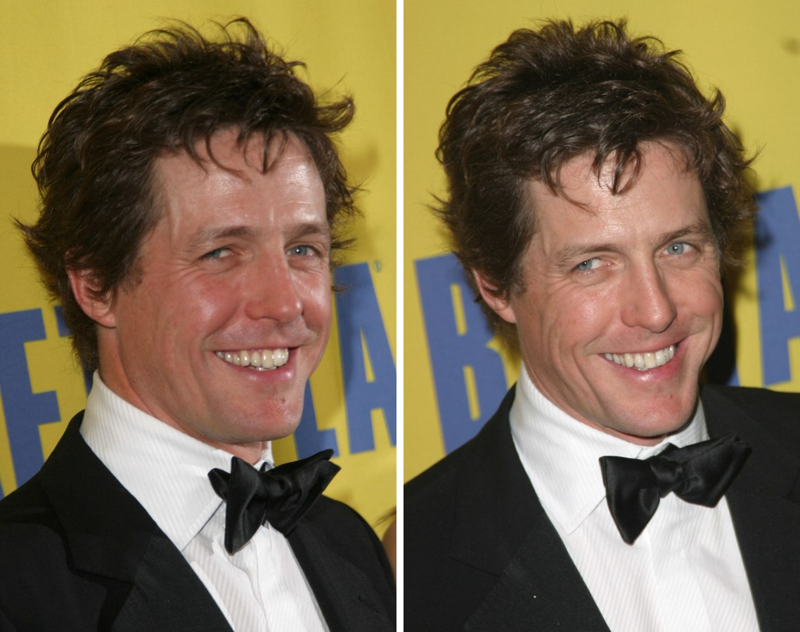 Hugh Grant Sporting A Heavily Textured Razor Cut Hairstyle