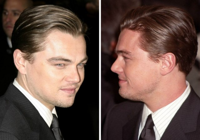 leonardo dicaprio sporting a slicked-back suave look hairstyle