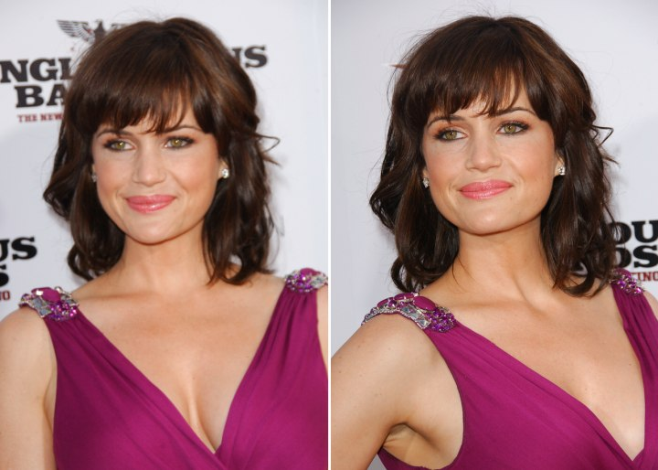 Carla Guginos Hairstyle With Curled Bangs And Rachel
