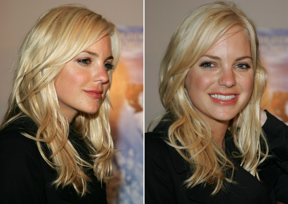Anna Faris With A Long And Rippled Satiny Hairstyle With A