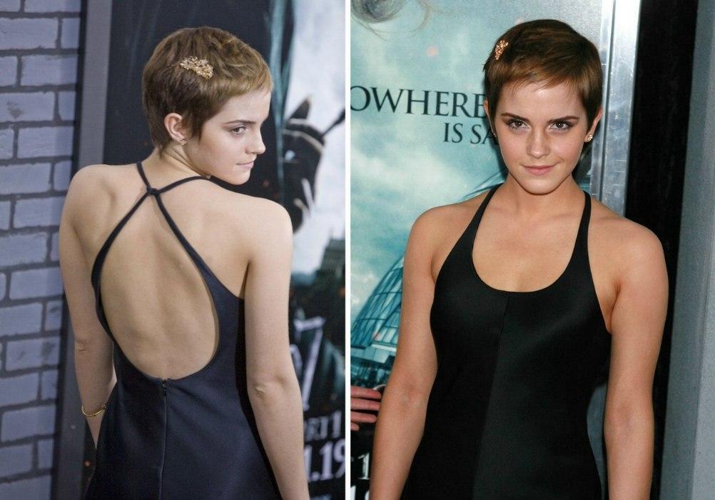Emma Watson With Her Hair Cut Boyish Short And Around Her