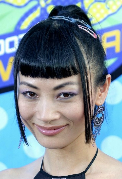 Bai Ling With Strict Short Bangs And Her Asian Hair Styled
