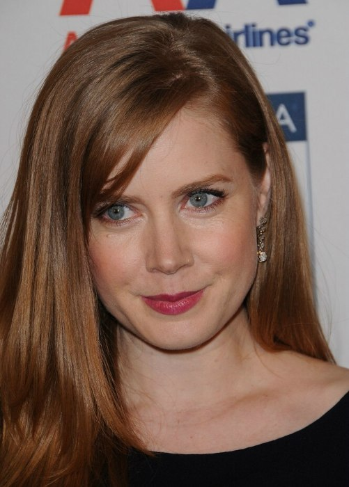 Amy Adams With Her Long Reddish Brown Hair Parted On The