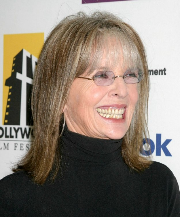 Diane Keaton Shoulder Length Hairstyle With Thin Bangs