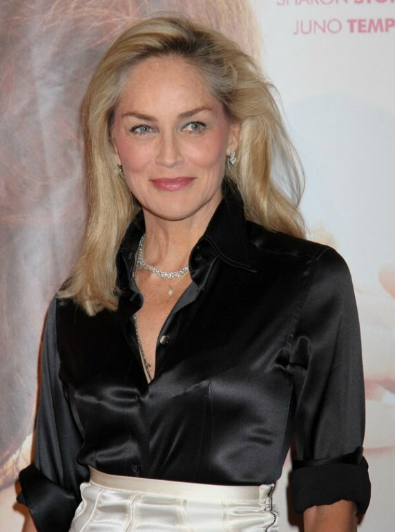 Sharon Stone Long Smoothed Hairststyle And A Shiny