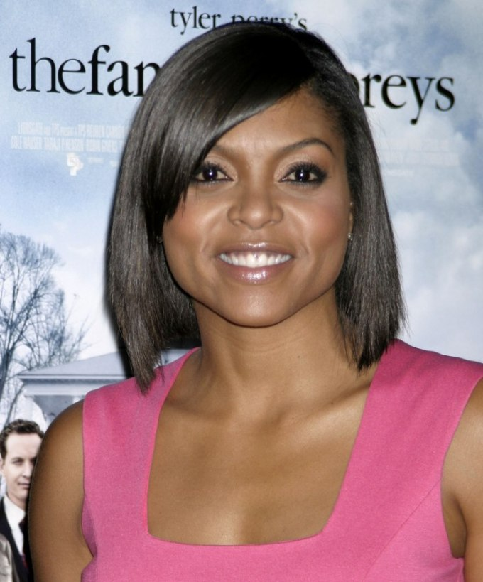 taraji henson | bob cut for black hair and a heart shaped face