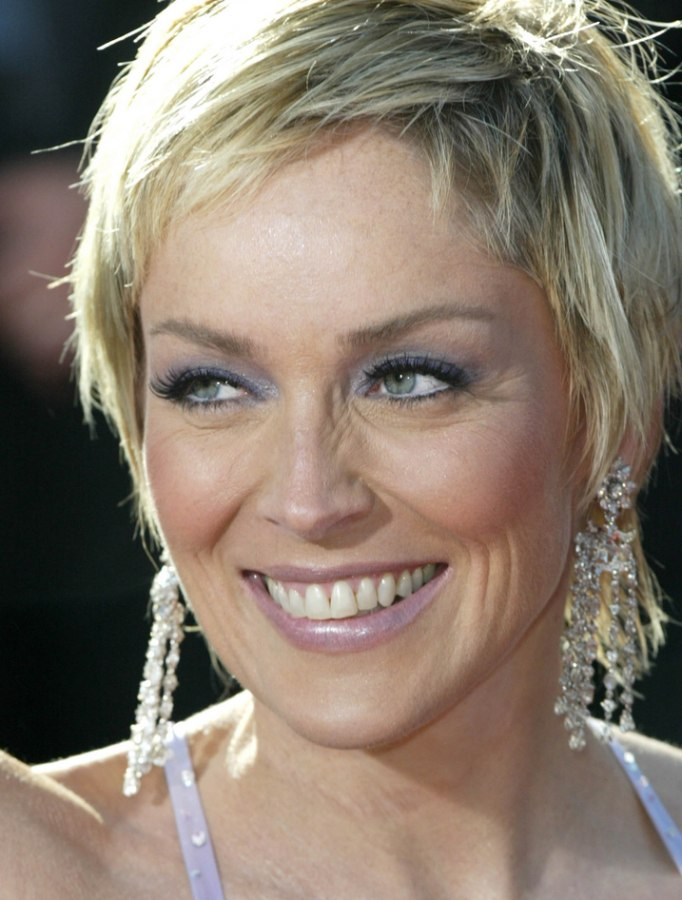 Sharon Stone Hair Smooth Short Razor Cut With Length In