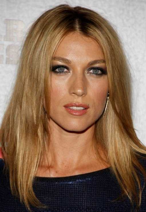 Natalie Zea With Her Long Hair Parted In The Middle And