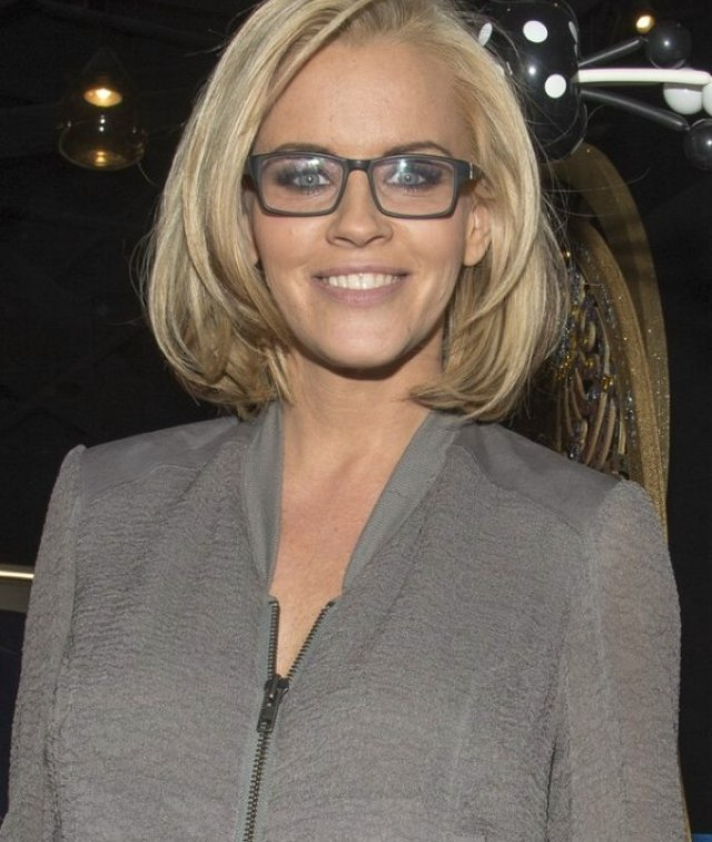 jenny mccarthy | long layered bob hairstyle and black-framed