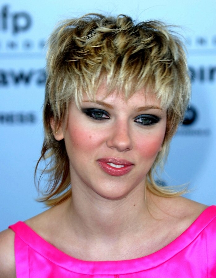 Scarlett Johansson Shaggy 80s Hairstyle With A Long