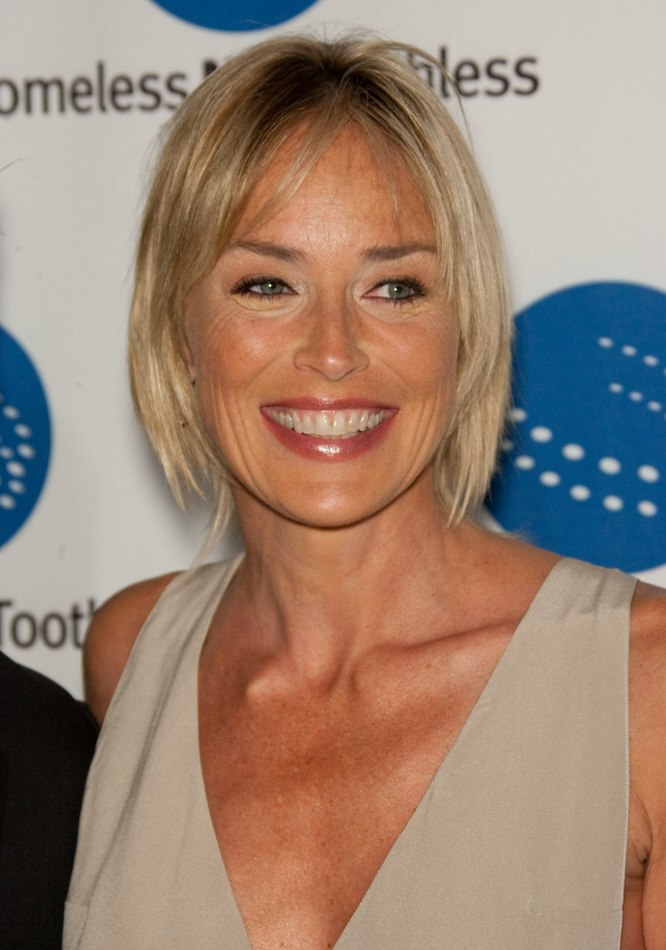 Sharon Stone With A Shorter Hairstyle That Is Easy To Do