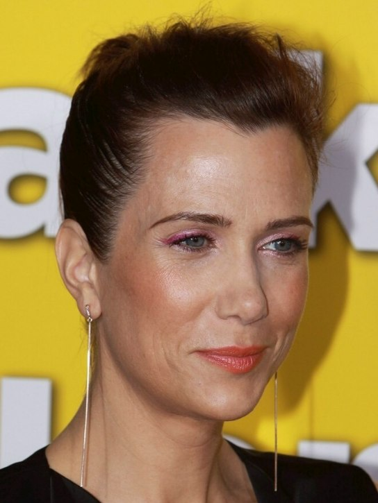 Kristen Wiig Fake Pixie Haircut With The Hair Severely