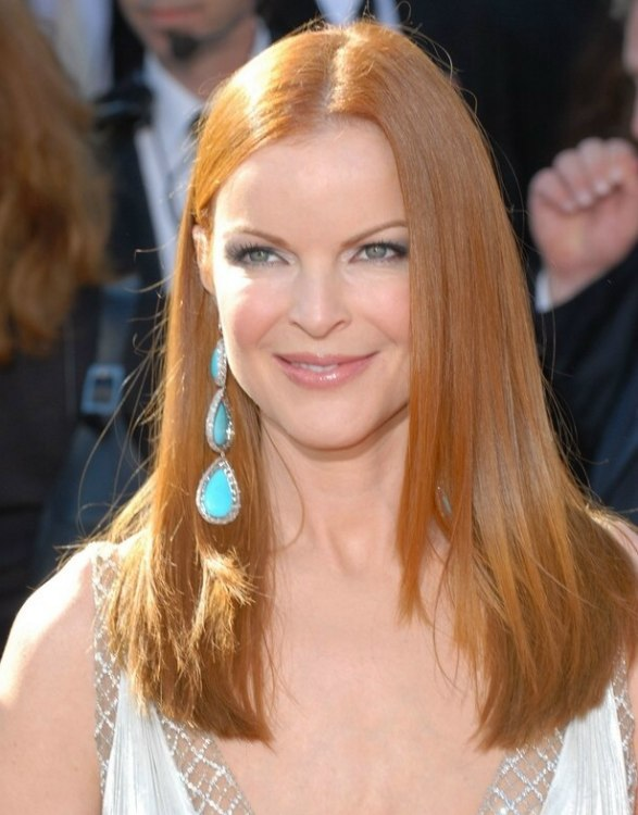 Marcia Cross Sleek Red Hair Cut With Tapering For An