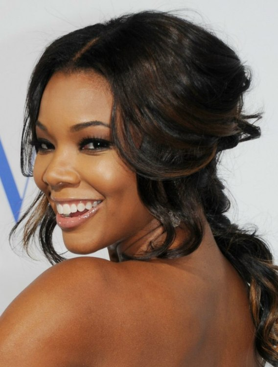 Gabrielle Union Up Style With Swept Back Hair And Curled