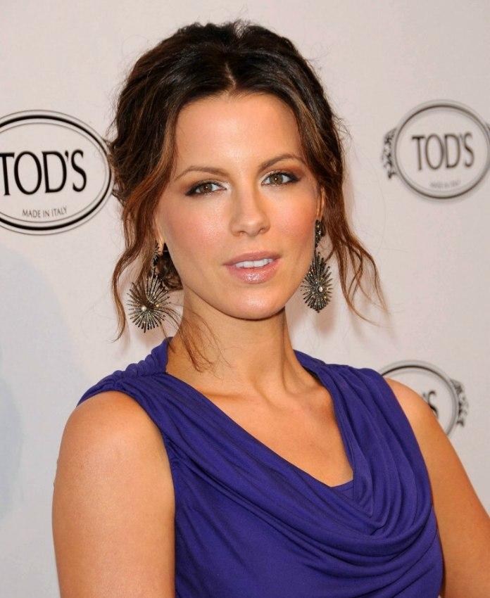 Kate Beckinsale With Her Hair Pulled Into A Simple Updo