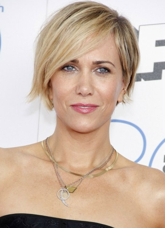 Kristen Wiig Pixie Hairstyle For An Oblong Face