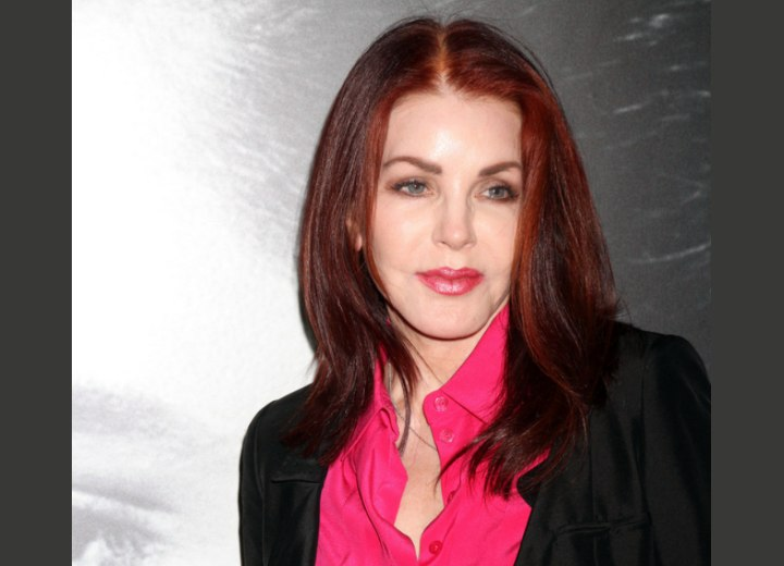 Priscilla Presley Naturally Wave Dark Red Hair For A 60