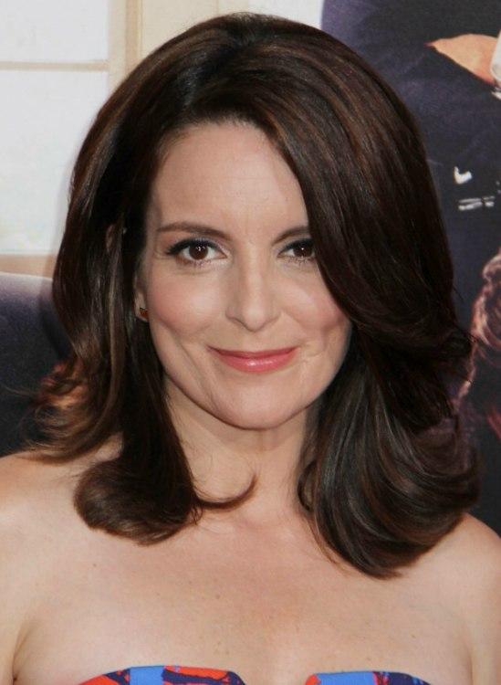 Tina Feys Timeless Brunette Hair Style With An Off Center