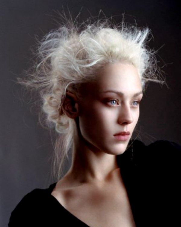 Platinum Hair With Twists Of Gathered Curls At The Back