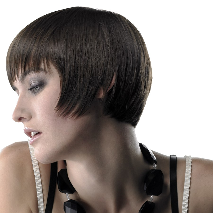 Short Blunt And Perfectly Coiffed Bob With Bangs