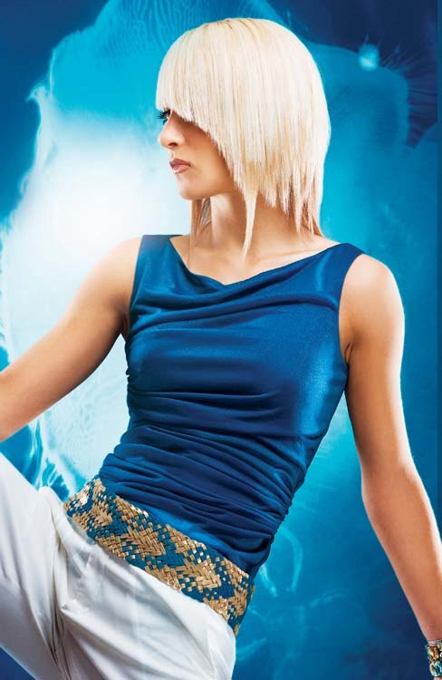 Platinum Blonde Hair In A Concave Bob Hairstyle With An