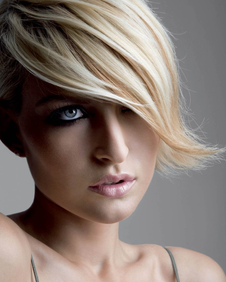 Effortless Looking Chin Length Bob With A Sweeping Fringe