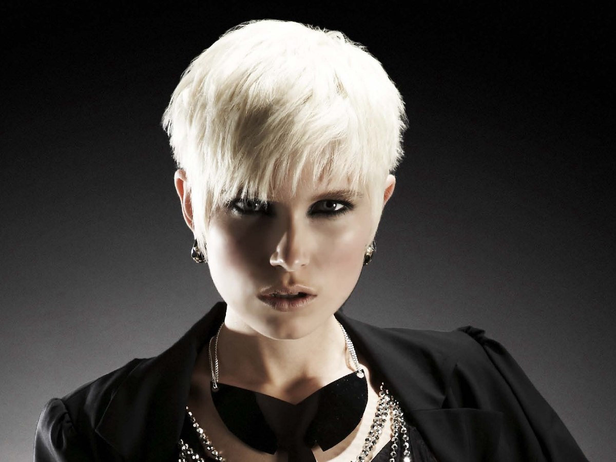 Platinum Super Short Hairstyle Modern Pixie