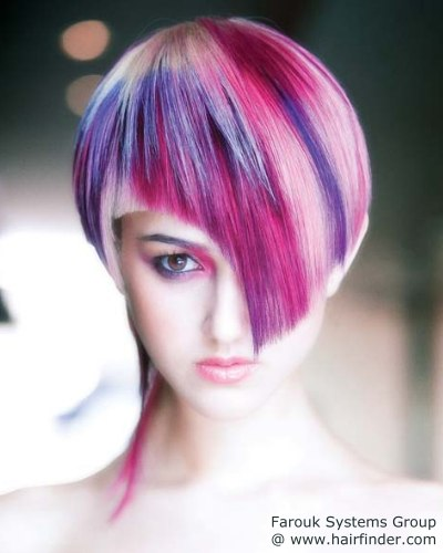 Hair With Special Color Effects Fuchsia And Grape