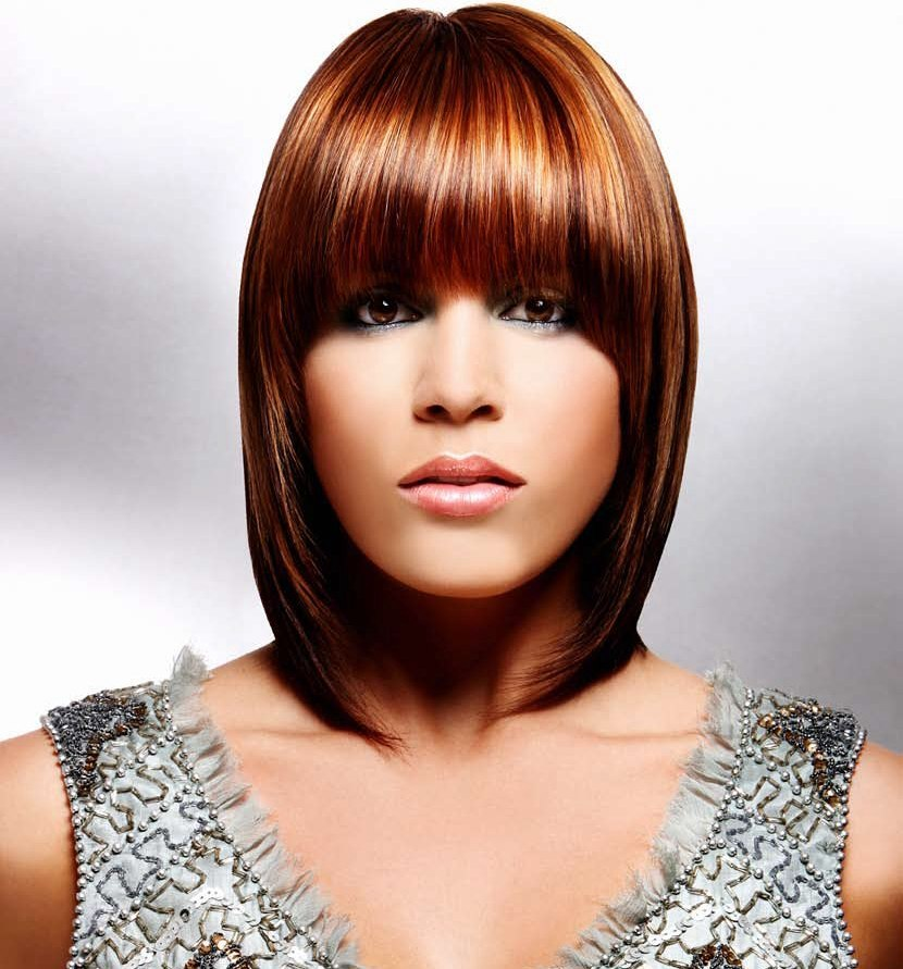Mid Length Shimmery Hair Collarbone Length Bob With A