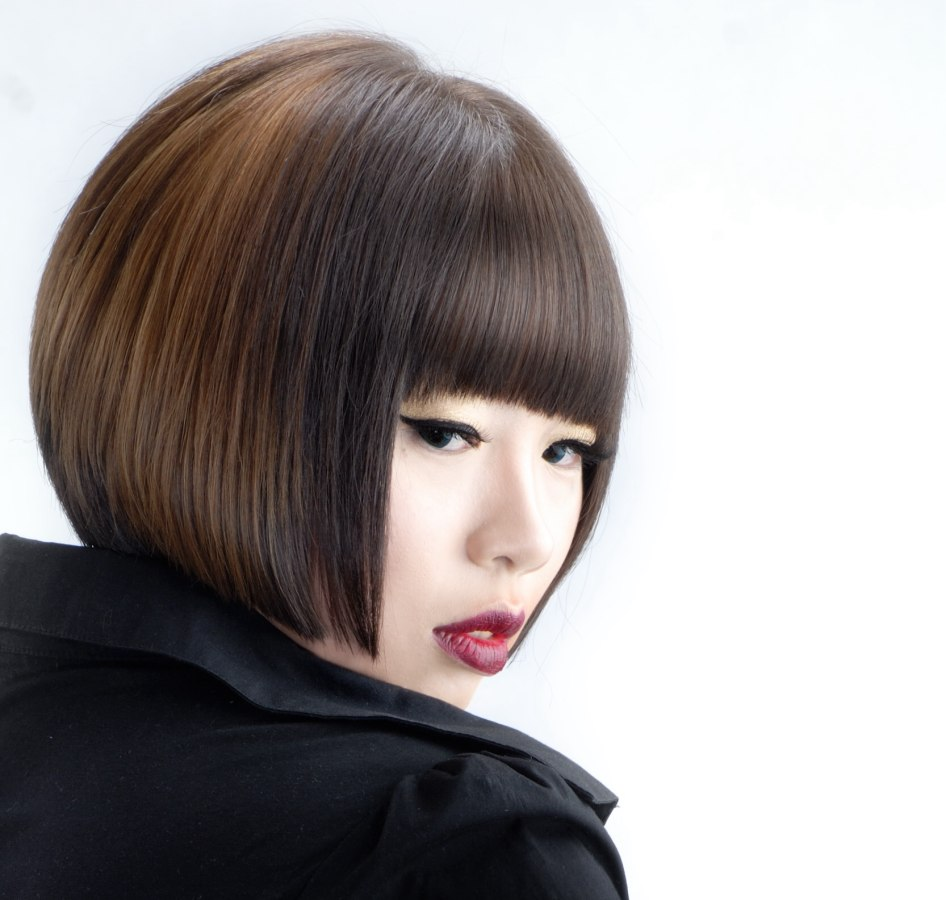 Asian Hair Cut Into A Smooth And Chick Stacked Bob