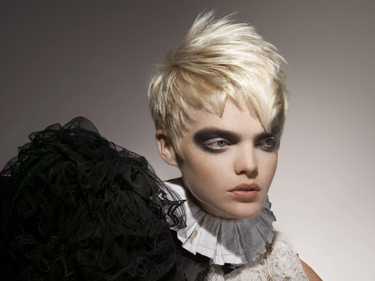 Choppy Short Platinum Blonde Hair With A Spiky Crown