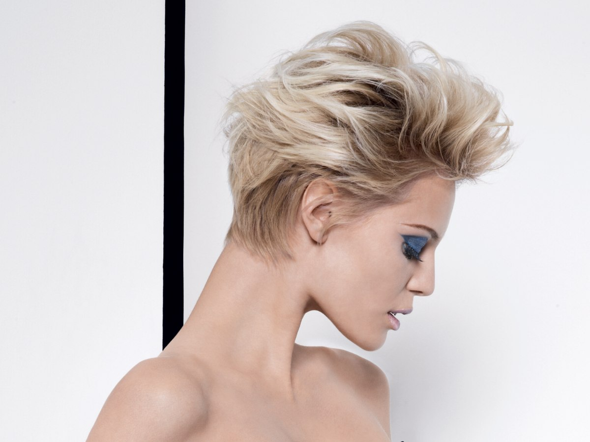 Flipped Back Hairstyle With A Short Nape And High Top