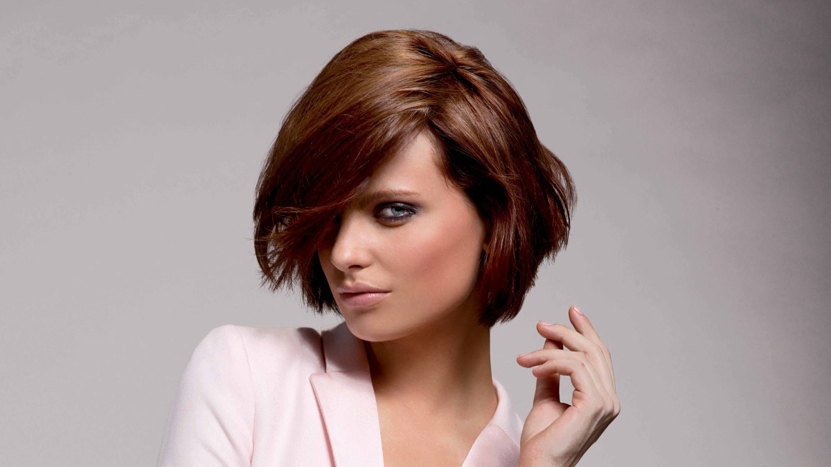 Short Bob Hairstyle With Layers Haircut For Thick Hair