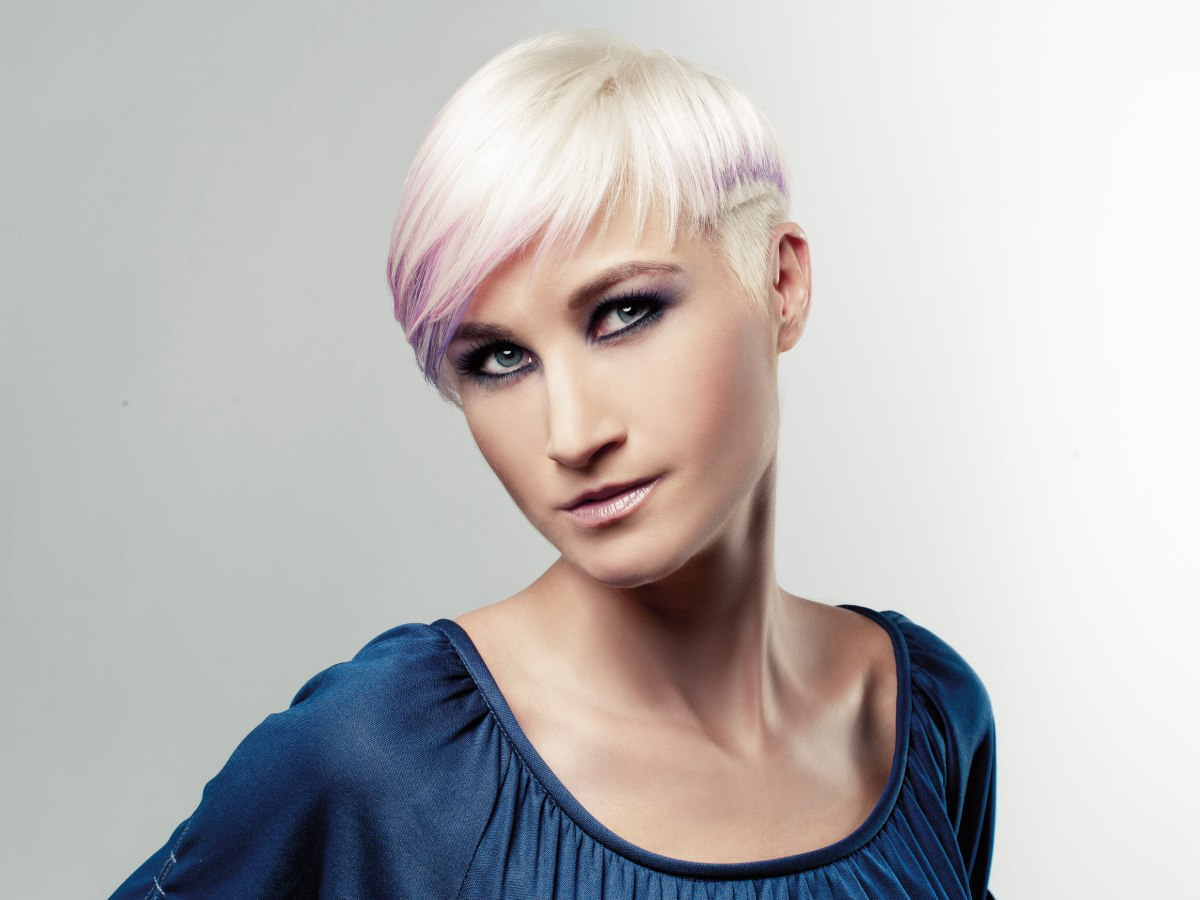 Punk Style Undercut Hair Blonde With A Dip Of Purple