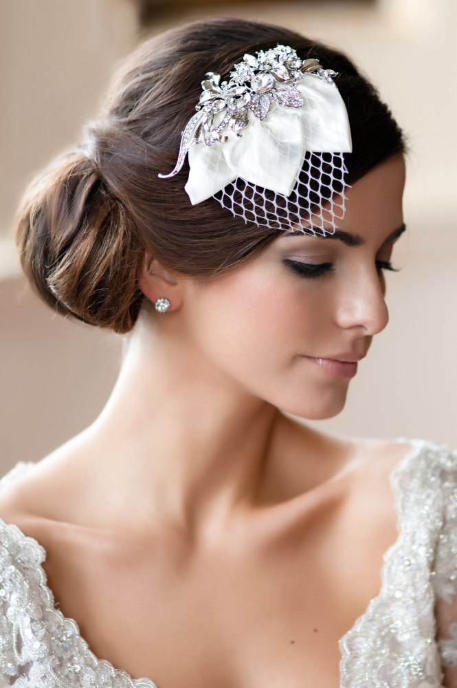 Soft Chignon And A Vintage Headpiece With A Tiny Veil