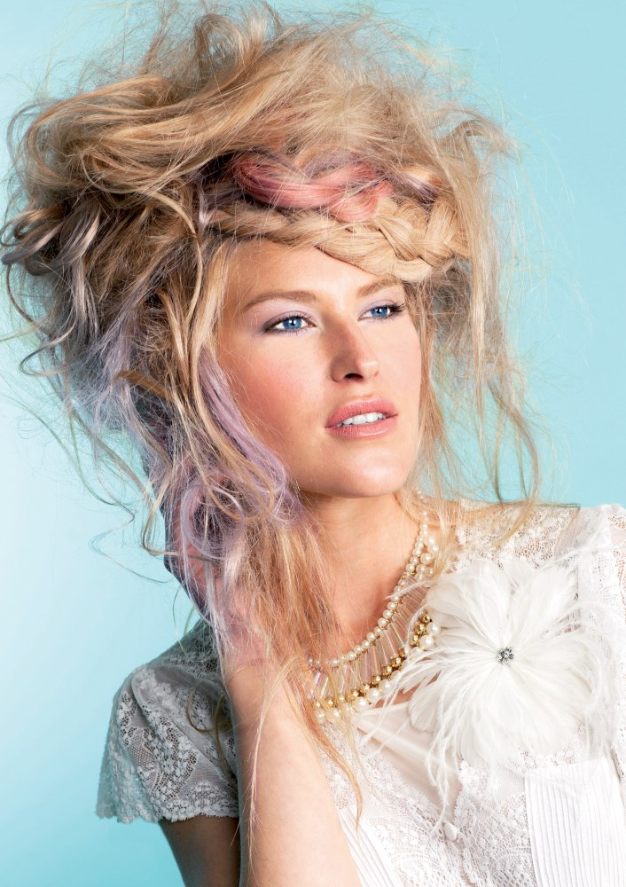 Untamed Blonde And Pink Hair With Country Braids