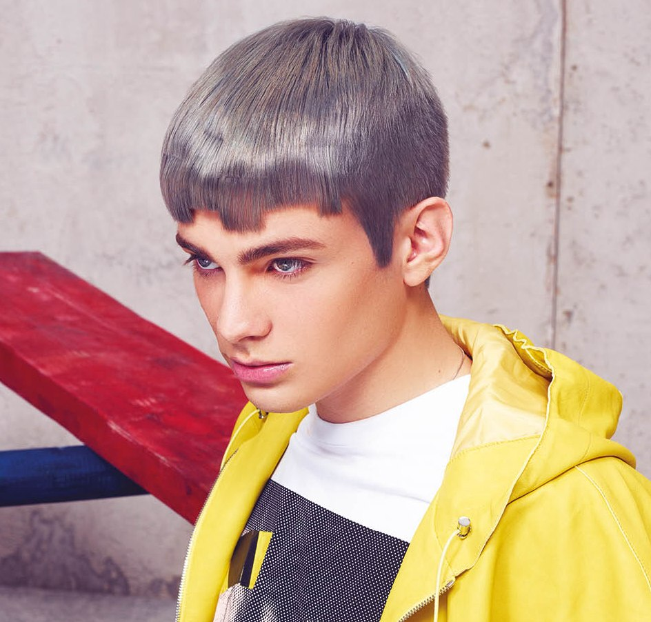 Eccentric Mens Hair With A Metallic Gray Or Darkened