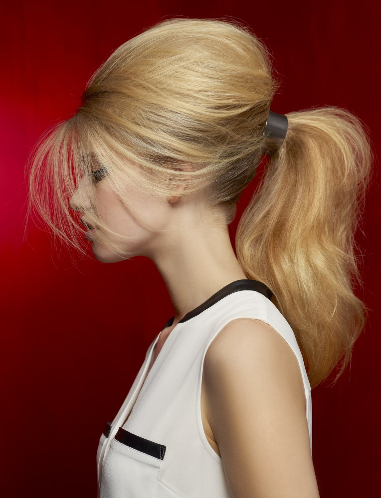Long And High Ponytail With A Modern Hair Clasp